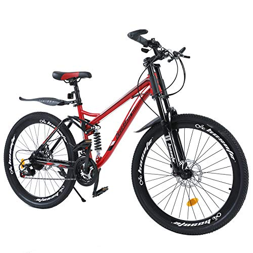 hosote 26 inch Mountain Bike, Full Suspension Shimano 21 Speed Mountain Bicycle, Dual Disc Brake City Bikes for Men and Women [US in Stock]