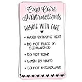 100 Pink Cup Care Instructions Cards - Tumblers and Mugs Care Instruction Insert for Small Business - Customer Directions Cards - Small Online Shop Package Insert