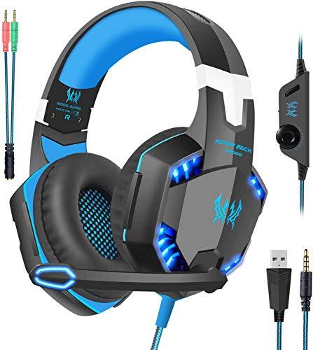 VersionTech Casque Gaming pour Xbox One PS4 PC, Casque Gamer USB Anti-Bruit avec Microphone, LED Limières, Surround Bass Stéréo pour Nintendo Switch, Nintendo 3DS (Bleu)