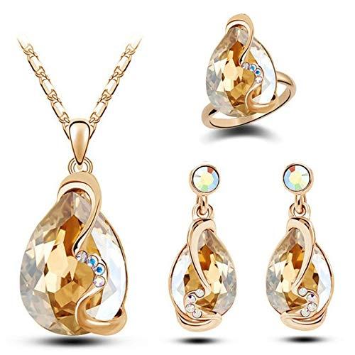 Joyería Pendientes de cristal austriaco Anillos Anillos de joyería de tres piezas Regalo de color de la estrella
