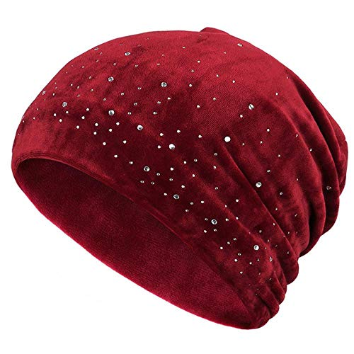 TIANHQ Women's Shiny Rhinestones Innocent Mützen Autumn and Winter Women's Velvet Beiläufiger Weicher Hut, Red-1