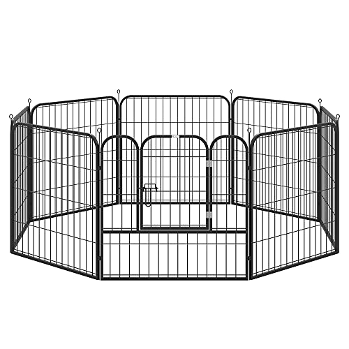 Pawhut Parque para Mascotas Perros 8 Vallas 79x79 cm Corral Plegable con Puerta y Doble Pestillo Paneles Metálicos Cerca de Entrenamiento Negro