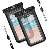 YOSH wasserdichte Handyhülle Unterwasser Handyhülle (2 Stück) chnorcheln Tauchen Schwimmen Kanu Wanderung für iPhone 11 pro Xs XR X 6 6s Samsung S10/ S9/ S8 Huawei Xiaomi bis zu 6,1 Zoll (schwarz)