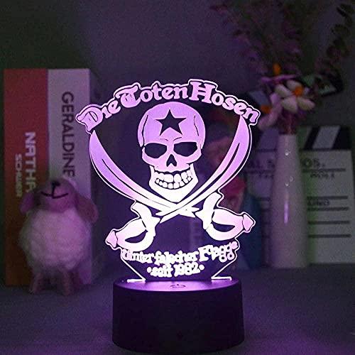Lámpara de anime 3D Luz de noche Ilusión de ilusión Luz de pirata LED LED Nightlight Boy Habitación Decoración Adolescente Dormitorio 16 Colores Tabla USB Regalo para un amigo Control remoto-Tocar