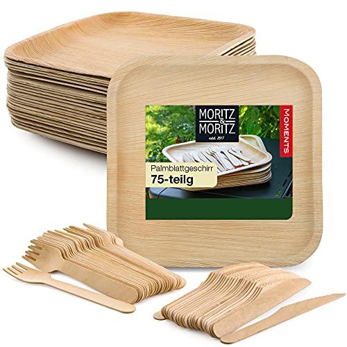 Moritz & Moritz Vajilla Platos Desechables Biodegradables de Palma 75 Piezas - 25 x Platos Desechable y 25 x Cubiertos Desechables - Alternativa a los Platos Bambu Reutilizables