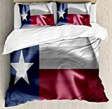 Ambesonne Western Duvet Cover Set, Texas State Flag of Lonely Star Freedom Wind Blow Effect Americana US Illustration Print, Decorative 3 Piece Bedding Set with 2 Pillow Shams, King Size, Blue Maroon