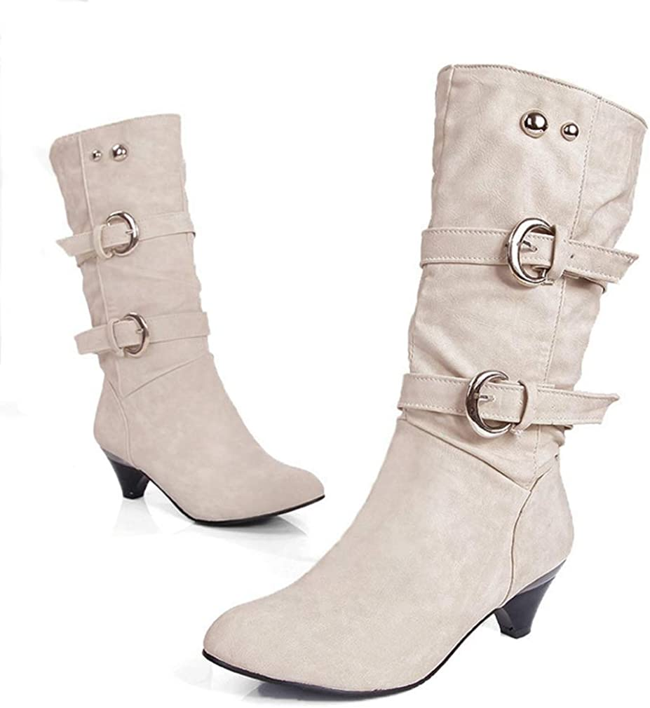 Women'Wide Shaft Slouch Boots Round Toe Mid Calf Dress Boots Trendy Buckle Straps Kitten Heel Knee High Boots