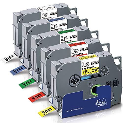 5x Schriftband Tape 9mm für BROTHER D400 D400VP D450