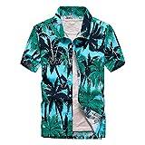 Fansu Camicia Hawaiana Uomo, Motivo Estivo con di Palme Funky 3D Stampa Manica Corta Casual Fit Shirt Vari Colori (Cocco Verde,XL)