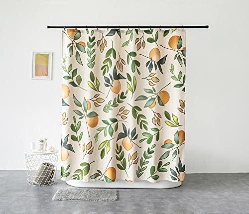 TopTree Duschvorhang Anti-Schimmel & Wasserabweisend Shower Curtain mit 12 Duschvorhangringen 3D Digitaldruck Sommerfruchtorange 180x180cm
