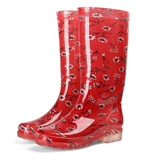 lonfenner Stivali di Gomma,Women High Boots in Comfortable Rubber And Keep Warm The Water Resistance To Wear Wellies Shoes Boots of Non-Slip Rain Ladies Red Flower 40
