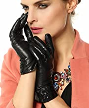 Warmen Women's Touchscreen Texting Driving Winter Warm Nappa Leather Gloves - 7.5 (US Standard size) - Black (Touchscreen Function/Cashmere Lining)