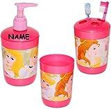 alles-meine.de GmbH 3 TLG. Badset - Zahnputzset _  Disney Princess - Prinzessin  - incl. Name - Seifenspender + Zahnputzbecher + Zahnbürstenhalter - z.B. für Zahnbürste - Kinde..