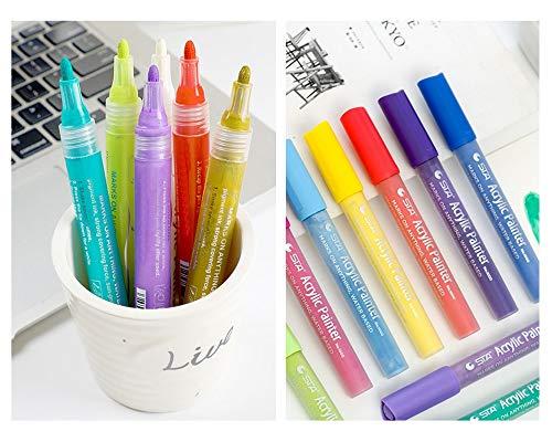 ACRYLIC PAINT MARKERS SET OF 12 Paint Pens markers for Glass permanent - Plastic - Rock Painting - Porcelain - Ceramic - Fabric - Enamel pen - Canvas - School craft - Paint supplies for artists Photo #8