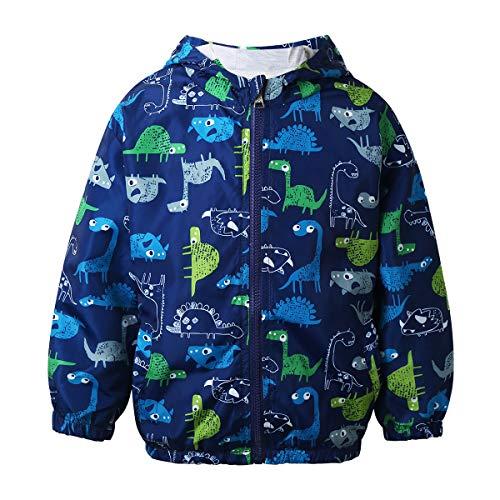 Agoky Baby Jungen Kapuzenjacke Langarm Cartoon Dinosaurier Druck Mantel Wasser- Und Winddichte Outdoor Jacke Winterjacke Mit Reißverschluss Blau 86-92/18-24 Monate