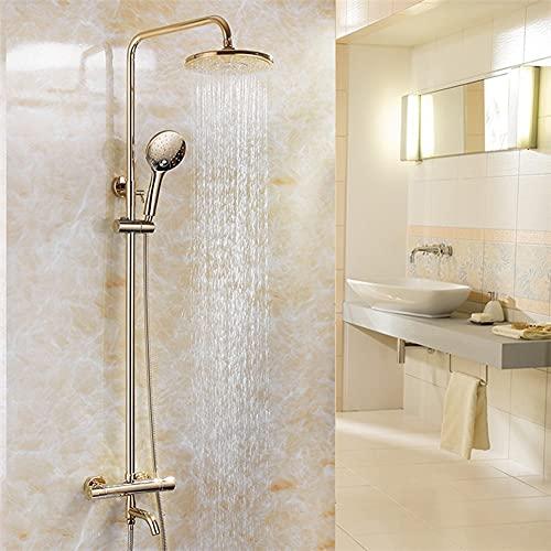 Sistema de ducha Juego de grifos termostáticos de latón para ducha Columna de ducha de montaje en pared 3 funciones Caño de baño con ducha de mano, rociador redondo