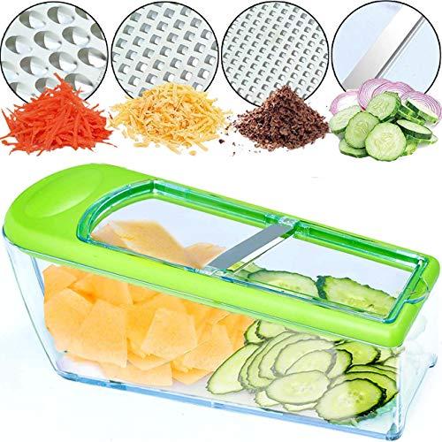 Nurch Gemüsehobel Mandolinenschneider, Multifunktion Edelstahl Gurkenhobel, 4 in 1 Verstellbar Kartoffelreibe Küchenreibe Gemüsereibe und Spülmaschinenfest (Grün)