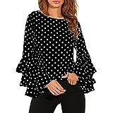 Longra Camisa Manga Larga para Mujer, Mujer Camiseta Mangas Largas Volantes Lunares Blusa Elegante Noche Casual Oficina (XL, Negro)