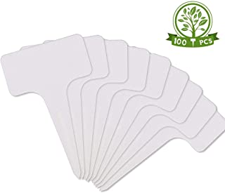 HOOPLE 100 Pcs 3.9Inch Plastic Plant Labels Garden Marker Nursery Tags T-Type Stake Notes Strip White (1.2x2.3x3.9 in)