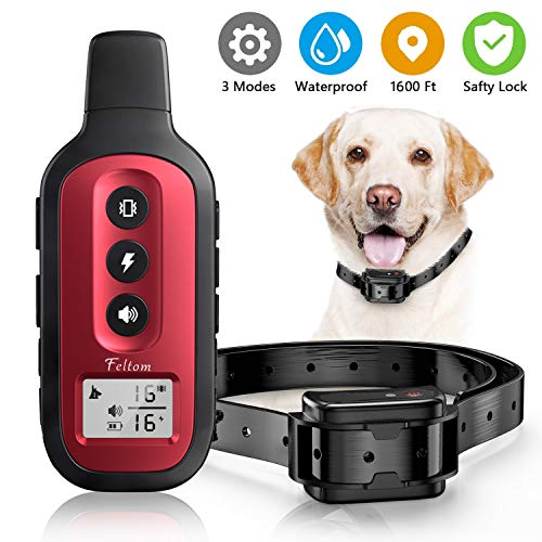 Feltom Dog Training Collar, Waterproof and Rechargeable Shock Collar with Remote for Dog w/3 Training Modes, Beep, Vibration and Shock, Up to 1600Ft Remote Range Suitable for Small, Medium, Large Dogs