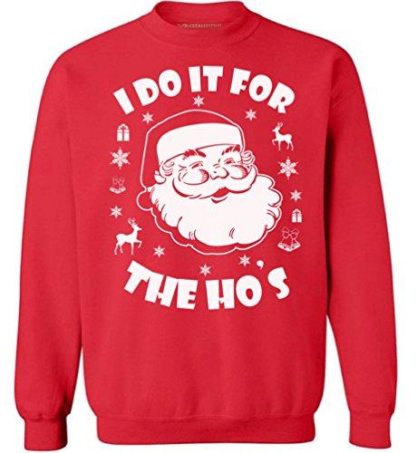 Awkward Styles I Do It for The Hos Sweatshirt Ugly Christmas Sweatshirt Funny Santa Sweater Red M