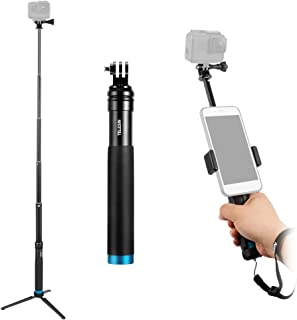 TELESIN Selfie Stick Handheld Selfie Stick Aluminum Alloy with Tripod Cell Phone Holder for iPhone X/8/8 Plus/7/7 Plus or Most Android Smartphone for GoPro Hero 7/6/5/4/3+/3 Action Cameras