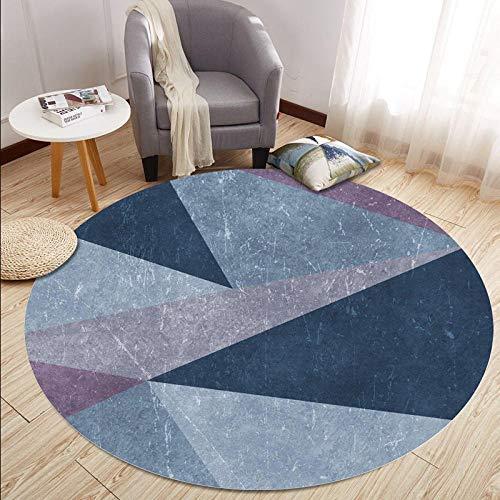 Chuanganja IKEA tapijt, rond, van velours, wasbaar, antislip, 100 cm, blauw/grijs