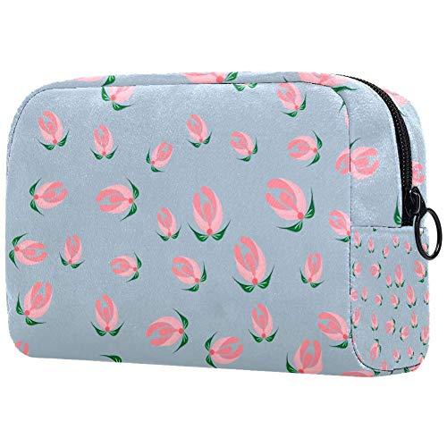 Bolsa para brochas de maquillaje personalizable, bolsa de aseo portátil para mujer, bolso cosmético, organizador de viaje, cuento de hadas, flores