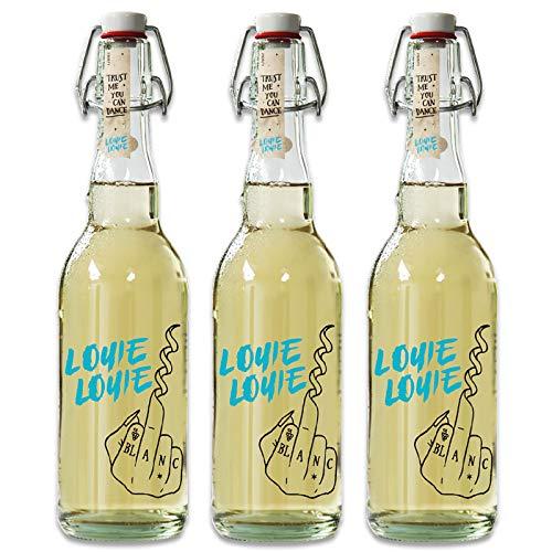 Louie Louie Wein Geschenk, Set aus 3 Flaschen Weißwein trocken, Bio & Vegan, mit Verschluss (3 x 0,5 l)