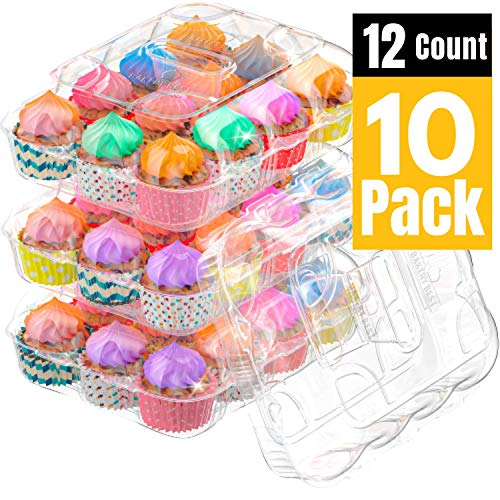 BAKERY BEST [10 Sets of 12 Counts] Cupcake Carrier, Plastic Container Holder for 12 Cupcakes - Cupcake Boxes, Clear Plastic Disposable Containers, Tall Dome Detachable Lid, Storage Tray, Muffin Holder