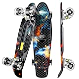 WeSkate Mini Cruiser Skateboard Retro Full Board 22 '55cm Vintage Skateboard con borde de plástico Cruiser Board con PU Flash Wheel Bearing ABEC-7 para adultos, niños, niñas
