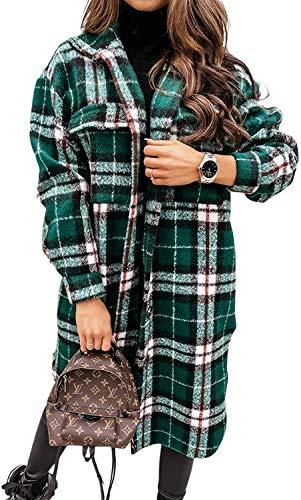 BemeyourBBs Chaqueta informal para mujer, a cuadros, para invierno, a cuadros, chaqueta de abrigo