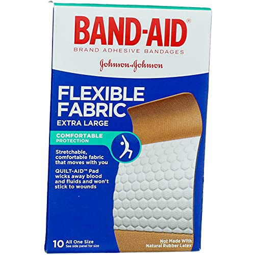 Band-Aid Flexible Fabric Bandages Extra Large All One Size - 10 ct, Pack of 3