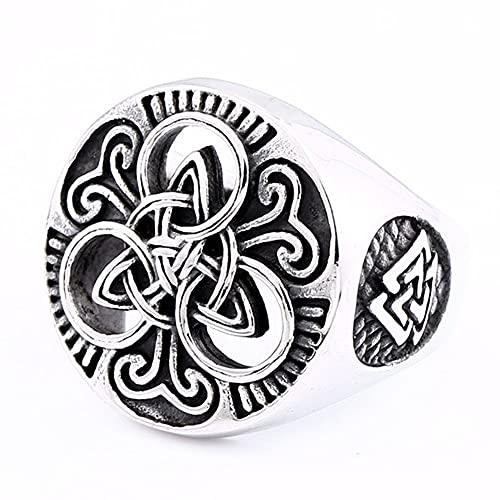 Anillos Vikingos Nórdicos Joyería De Sello De Nudo Celta para Hombre Amuleto Odin Redondo De Acero Inoxidable Vintage,9
