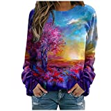 Women's Pullover Fashion Print Long-Sleeved Tops Hooded Sweatshirt Casual Blouse
