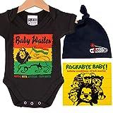 Baby-Strampler, Rasta-Baby-Geschenkbox, schwarze Beanie-Mütze, Bob-Marley-CD und Aufkleber, lustiges Baby-Geschenk (6-12 Monate)