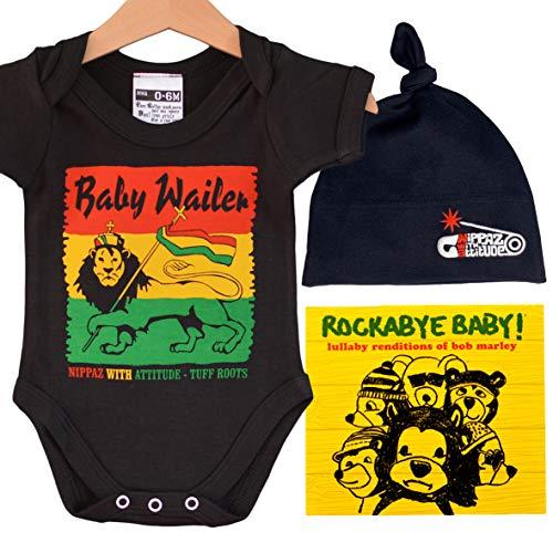 Caja de regalo para bebé Rasta Baby Wailer Babygrow, gorro negro, CD de Bob Marley y pegatina, regalo divertido para bebé (0-6 meses)