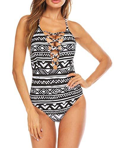Ekouaer Solid Lace Crochet Deep V Neck One Piece Swimsuit with Back Cutout Bikini Set Swimwear Monokini, 66-black White Geometry ,Medium