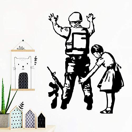 LSMYE Aufkleber Mädchen und Soldat Aufkleber Vinyl Wallpaper für Babyzimmer Wandtattoos Aufkleber Schlafzimmer Silber XL 57cm x 75cm