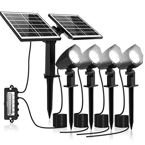 MEIHUA Solar Strahler 4 Stück Solar Gartenleuchte IP66 wasserdichte, Solarlampen für außen, mit Erdspieß, für Gärten, Sträucher und Bäume Tageslicht Weiß