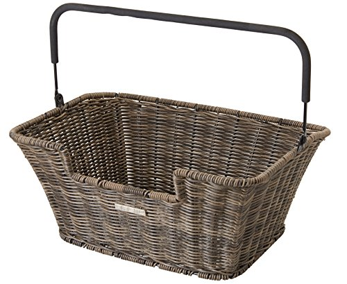 Basil Fahrradkorb Capri-Rattan Look Flex, Brown, 40 x 31 x 18 cm