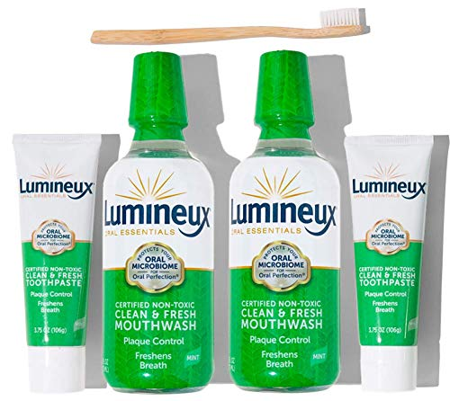 Lumineux Oral Essentials Clean & Fresh Breath Kit - Two 16oz Mouthwash, Two 3.5oz Toothpaste, Bamboo Toothbrush | Certified Non Toxic, Fresh Breath in 14 Days | Non- Toxic, Fluoride & Alcohol Free