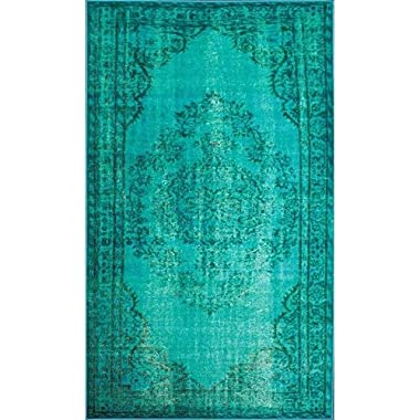 Vintage Inspired Overdyed Turquoise Area Rug
