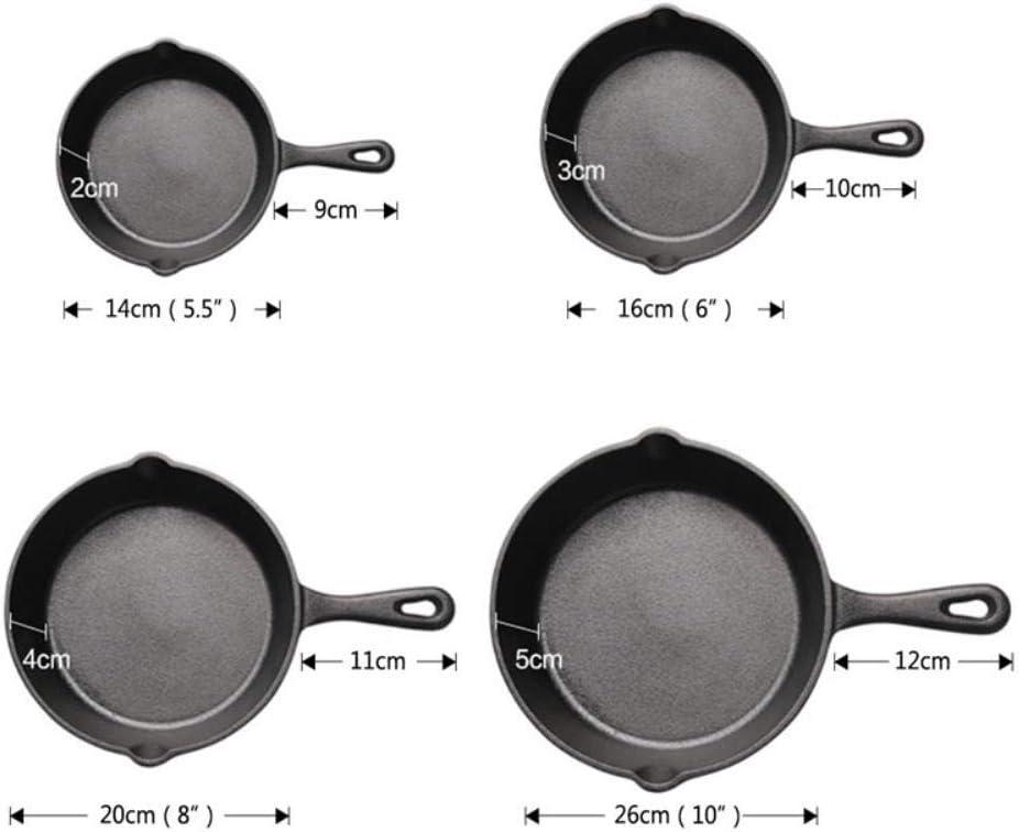 Mstr Poêle à frire en fonte avec bec verseur anti-adhésif poêle à induction ustensiles de cuisine crêpes crêpes poêles à bœuf grill 16 Cm