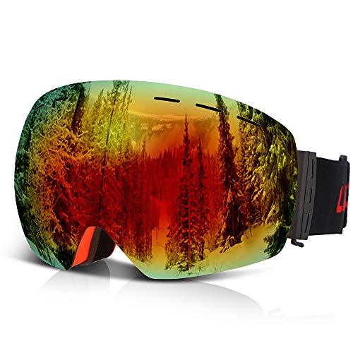 Lixada Skibril, snowboard, OTG, anti-condens, UV-bescherming, sneeuwbril, sferische dual lens, design, afneembare riem, geschikt voor mannen vrouwen en jongeren