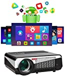 Gzunelic 6500 lumens Android WiFi Projector 1080p Video LCD LED Projector Full HD Theater Proyector with Bluetooth Wireless Mirror to Smart Phone by Airplay or Miracast Ideal for Home Entertainment