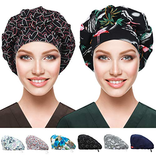 2 Pack Bouffant Caps with Button and Sweatband, Adjustable Working Hats for Women Men, One Size Working Head Cover (Flamingo+Heart)