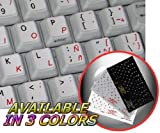 SPANISH (LATIN AMERICA)-ENGLISH NON-TRANSPARENT KEYBOARD STICKER WHITE BACKGROUND FOR DESKTOP, LAPTOP AND NOTEBOOK