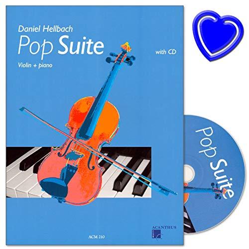 Pop Suite für Violine und Klavier - Latin, Ballade, Disco, Intermezzo, Brasil - Herausgeber Daniel Hellbach - Noten mit CD und bunter herzförmiger Notenklammer