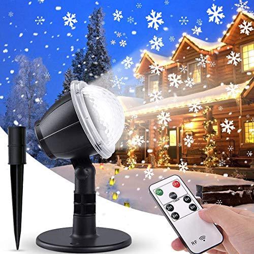 IREGRO Projecteur Lumières De Noël Flocon De Neige Lumières Télécommande Snowfall Spotlight Extérieur Intérieur Paysage Éclairage Décoratif pour Jardin Pelouse Maison Fête De Mariage Nouvel An Étape